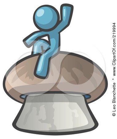 Royalty-Free (RF) Clipart Illustration of a Denim Blue Man Design Mascot Waving And Sitting On A Mushroom by Leo Blanchette