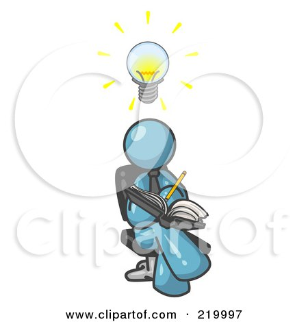 Royalty-Free (RF) Clipart Illustration of a Smart Denim Blue Man Seated With His Legs Crossed, Brainstorming and Writing Ideas Down in a Notebook, Lightbulb Over His Head by Leo Blanchette