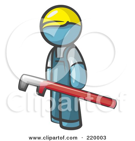 Royalty-Free (RF) Clipart Illustration of a Denim Blue Man Design Mascot With A Red Pipe Wrench by Leo Blanchette