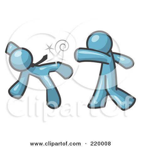 Royalty-Free (RF) Clipart Illustration of a Denim Blue Man Being Punched by Another by Leo Blanchette