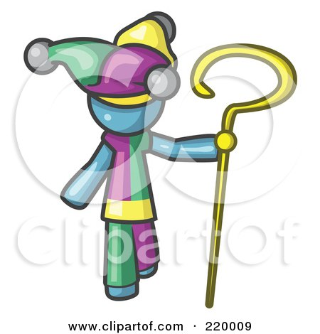 Royalty-Free (RF) Clipart Illustration of a Denim Blue Man In A Jester Costume, Holding A Yellow Staff by Leo Blanchette