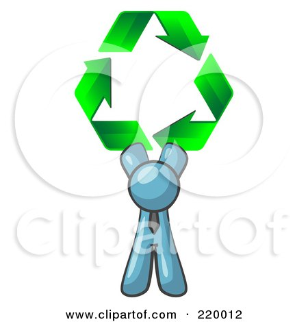 Royalty-Free (RF) Clipart Illustration of a Denim Blue Man Holding Up Three Green Arrows Forming A Triangle And Moving In A Clockwise Motion, Symbolizing Renewable Energy And Recycling by Leo Blanchette