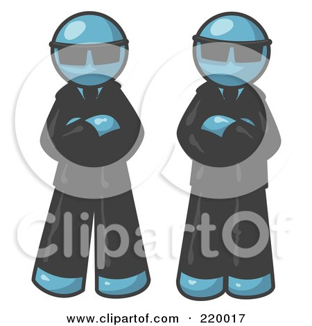 Royalty-Free (RF) Clipart Illustration of Two Denim Blue Men Standing With Their Arms Crossed, Wearing Sunglasses and Black Suits by Leo Blanchette