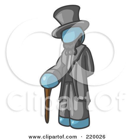 Royalty-Free (RF) Clipart Illustration of a Denim Blue Man Depicting Abraham Lincoln With a Cane by Leo Blanchette