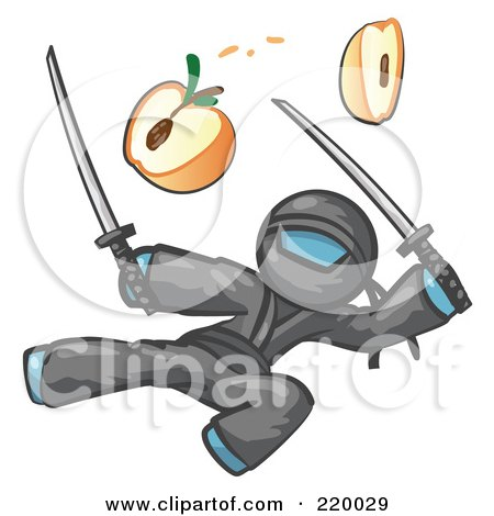 Royalty-Free (RF) Clipart Illustration of a Denim Blue Man Ninja Jumping And Slicing An Apple With Swords by Leo Blanchette