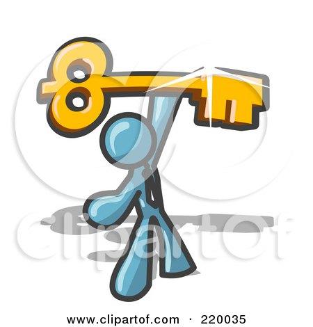 Royalty-Free (RF) Clipart Illustration of a Denim Blue Businessman Holding A Large Golden Skeleton Key, Symbolizing Success by Leo Blanchette