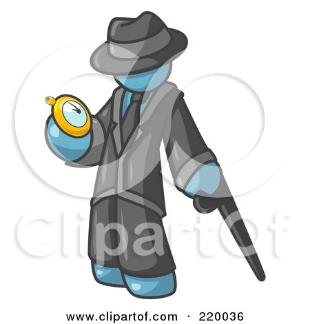 Royalty-Free (RF) Clipart Illustration of a Denim Blue Businessman Checking His Pocket Watch by Leo Blanchette