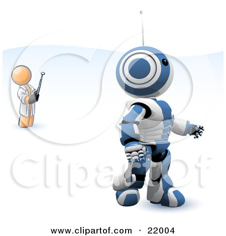 Clipart Picture Illustration of an Orange Man Inventor Operating An Blue Robot With A Remote Control by Leo Blanchette