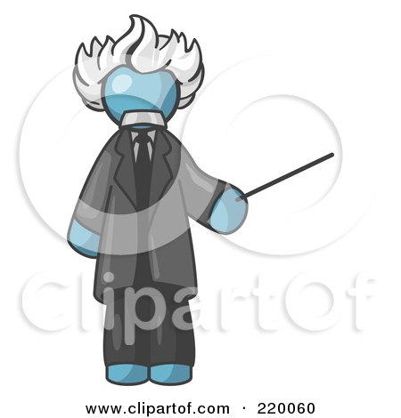 Royalty-Free (RF) Clipart Illustration of a Denim Blue Man Depicted as Albert Einstein Holding a Pointer Stick by Leo Blanchette