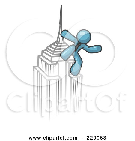 Royalty-Free (RF) Clipart Illustration of a Denim Blue Man Climbing to the Top of a Skyscraper Tower Like King Kong, Success, Achievement by Leo Blanchette