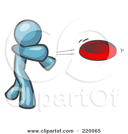 Royalty-Free (RF) Clipart Illustration of a Denim Blue Man Tossing A Red Flying Disc Through The Air For Someone To Catch by Leo Blanchette