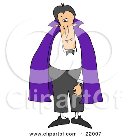 Male Vampire With Fangs, Standing And Wearing A Purple Cape Over A White Shirt And Black Pants Posters, Art Prints