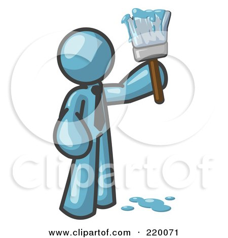 Royalty-Free (RF) Clipart Illustration of a Denim Blue Man Painter Holding A Dripping Paint Brush by Leo Blanchette