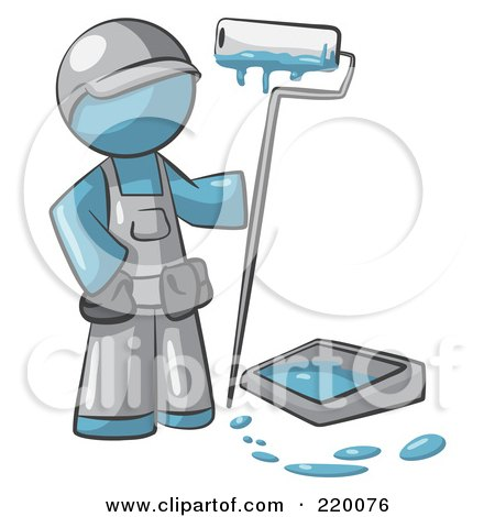 Royalty-Free (RF) Clipart Illustration of a Denim Blue Man Painter With A Paint Pan And Roller by Leo Blanchette