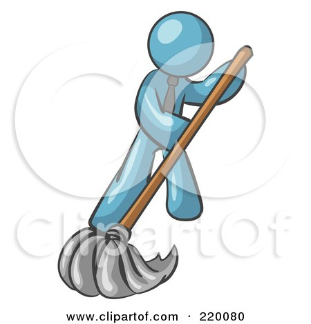 Royalty-Free (RF) Clipart Illustration of a Denim Blue Man Wearing A Tie, Using A Mop While Mopping A Hard Floor To Clean Up A Mess Or Spill by Leo Blanchette