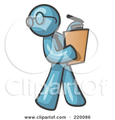 Royalty-Free (RF) Clipart Illustration of a Denim Blue Man Holding a Clipboard While Reviewing Employess by Leo Blanchette