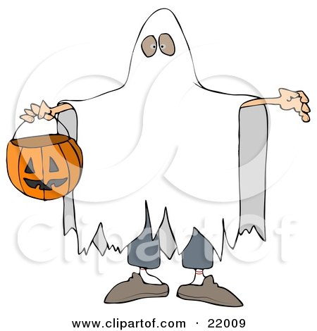 Halloween Trick Or Treater In A White Sheet Ghost Costume, Holding His Arms Out And Carrying A Pumpkin Basket Posters, Art Prints