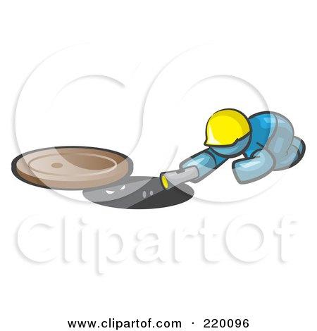 Royalty-Free (RF) Clipart Illustration of a Denim Blue Man Design Mascot Sewer Worker Shining A Flashlight Down A Man Hole by Leo Blanchette