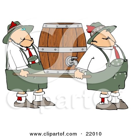 Clipart Illustration of a Couple Of Oktoberfest Guys Carrying A Heavy Beer Keg Barrel On A Platform by djart