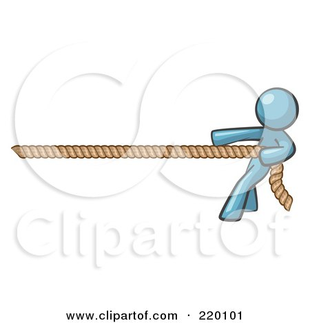 Royalty-Free (RF) Clipart Illustration of a Denim Blue Design Mascot Man Tugging On A Rope by Leo Blanchette
