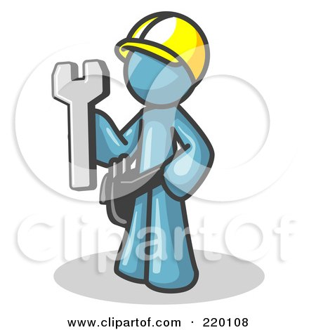 Royalty-Free (RF) Clipart Illustration of a Proud Denim Blue Construction Worker Man in a Hardhat, Holding a Wrench Clipart Illustration by Leo Blanchette