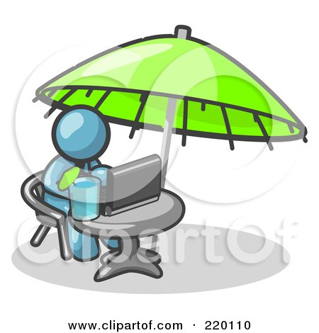 Royalty-Free (RF) Clipart Illustration of a Traveling Denim Blue Business Man Sitting Under an Umbrella at a Table Using a Laptop Computer  by Leo Blanchette