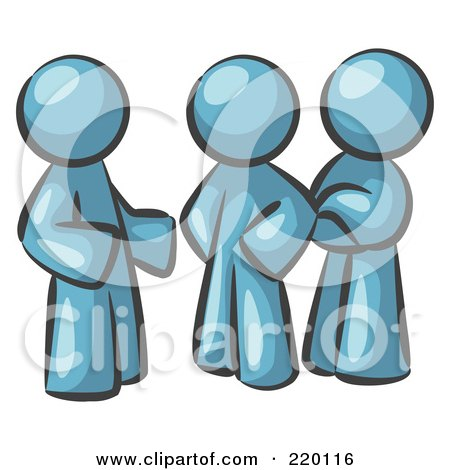 Royalty-Free (RF) Clipart Illustration of a Group Of Three Denim Blue Men Talking At The Office by Leo Blanchette