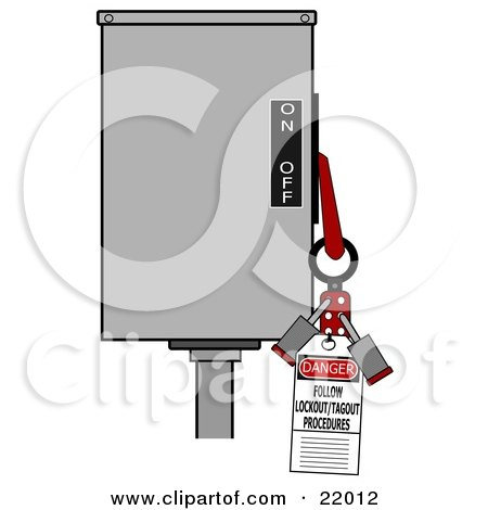 Clipart Illustration of a Red Folding Lockout Scissor Clamp With Two Padlocks On A Machine With A Danger Follow Lockout/tagout Procedures Tag For Energy Control And Safety by djart