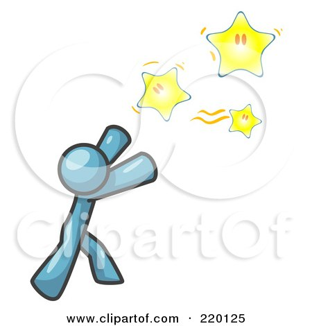 Royalty-Free (RF) Clipart Illustration of a Denim Blue Man Reaching For the Stars by Leo Blanchette