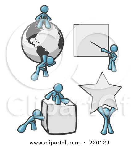 Royalty-Free (RF) Clipart Illustration of Denim Blue Men With a Globe, Presentation Board, Cube and Star by Leo Blanchette