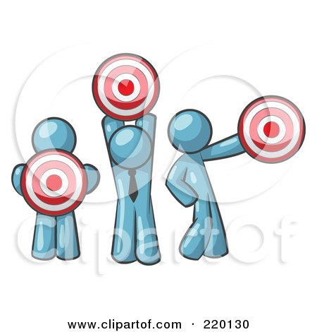 Royalty-Free (RF) Clipart Illustration of a Group Of Three Denim Blue Men Holding Red Targets In Different Positions by Leo Blanchette