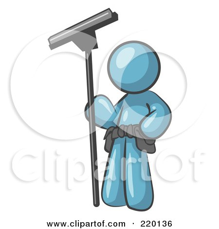 Royalty-Free (RF) Clipart Illustration of a Denim Blue Man Window Cleaner Standing With A Squeegee by Leo Blanchette
