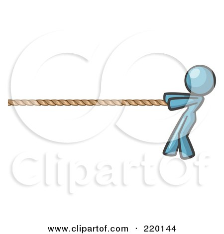 Royalty-Free (RF) Clipart Illustration of a Denim Blue Design Mascot Woman Tugging On A Rope by Leo Blanchette