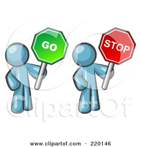 Royalty-Free (RF) Clipart Illustration of Denim Blue Men Holding Red And Green Stop And Go Signs by Leo Blanchette