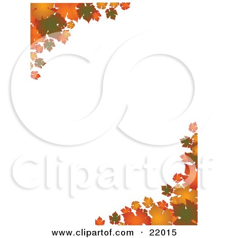 Clipart Picture of Corners Of Green, Orange And Yellow Autumn Leaves Over A White Background by elaineitalia
