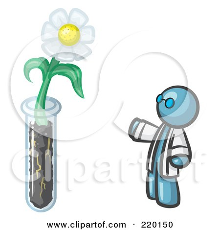 Royalty-Free (RF) Clipart Illustration of a Denim Blue Man Scientist By A Giant White Daisy Flower In A Test Tube by Leo Blanchette