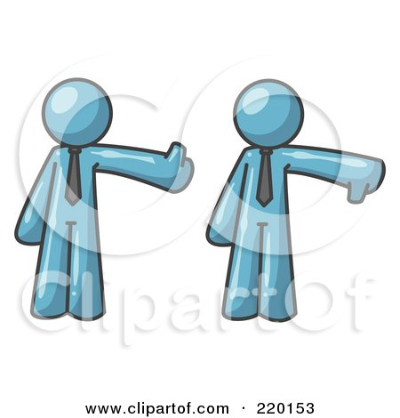 Royalty-Free (RF) Clipart Illustration of a Denim Blue Business Man Giving the Thumbs Up Then the Thumbs Down  by Leo Blanchette