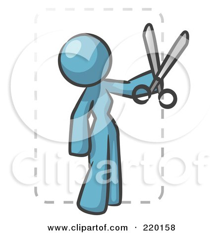 Royalty-Free (RF) Clipart Illustration of a Denim Blue Lady Character Snipping Out A Coupon With A Pair Of Scissors Before Going Shopping by Leo Blanchette