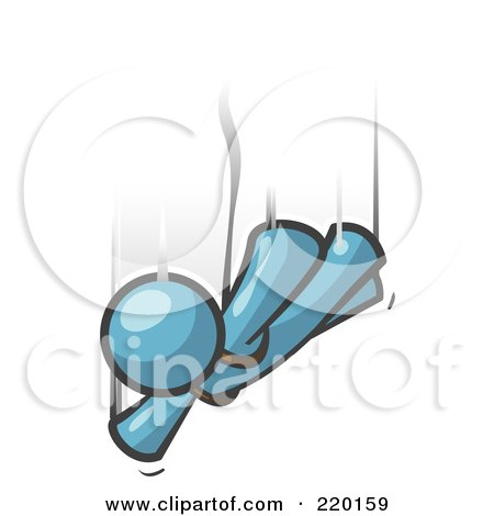 Royalty-Free (RF) Clipart Illustration of a Denim Blue Man Free Falling While Skydiving by Leo Blanchette