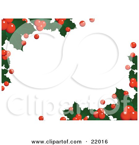 Clipart Picture of a Horizontal White Background Of Christmas Holly Leaves And Berries Over White by elaineitalia
