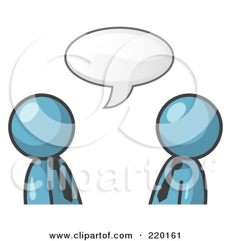 Royalty-Free (RF) Clipart Illustration of Two Denim Blue Businessmen Having a Conversation With a Text Bubble Above Them by Leo Blanchette