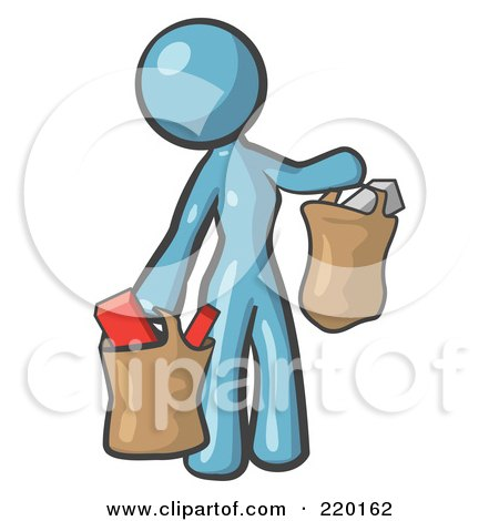 Royalty-Free (RF) Clipart Illustration of a Denim Blue Woman Carrying Paper Grocery Bags by Leo Blanchette