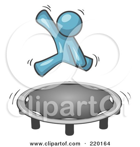 Royalty-Free (RF) Clipart Illustration of a Denim Blue Man Jumping on a Trampoline by Leo Blanchette