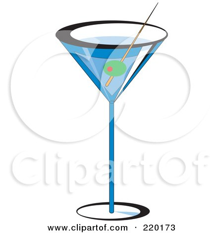 Royalty-Free (RF) Clipart Illustration of an Olive Garnish In A Blue Martini Alcoholic Beverage by erikalchan