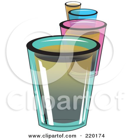 Royalty-Free (RF) Clipart Illustration of a Line Of Colorful Shot Glass Alcoholic Beverages by erikalchan