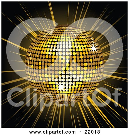 Clipart Picture of a Golden Shiny Disco Ball Spinning Over A Bursting Black And Yellow Background by elaineitalia