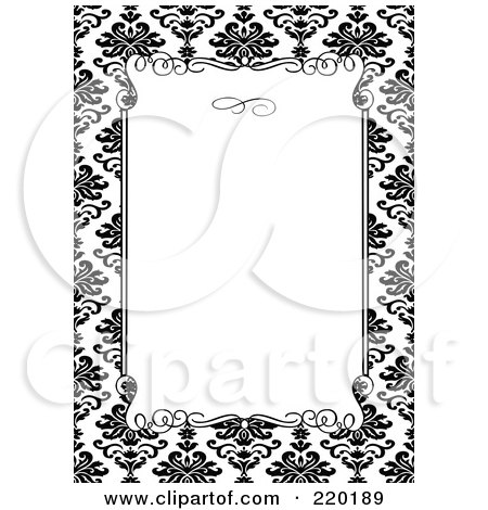 Royalty-Free (RF) Clipart Illustration of a Formal Invitation Design Of A White Box Over A Black Floral Pattern by BestVector
