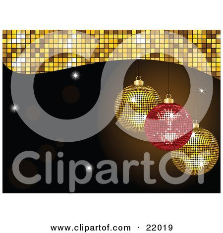 Clipart Picture of a Sparkling Red And Two Yellow Mirror Disco Ball Christmas Ornaments Suspended Over A Black Background With Flares And Bursts by elaineitalia