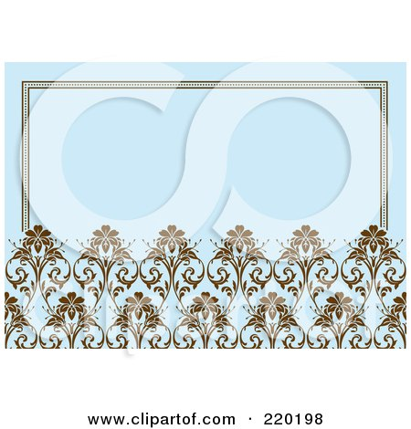 Royalty-Free (RF) Clipart Illustration of a Formal Invitation Design Of Brown Ornate Floral Designs Over Blue by BestVector