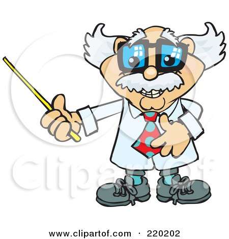 Royalty-Free (RF) Clipart Illustration of a Senior Professor Holding A Pointer Stick To The Left by Dennis Holmes Designs